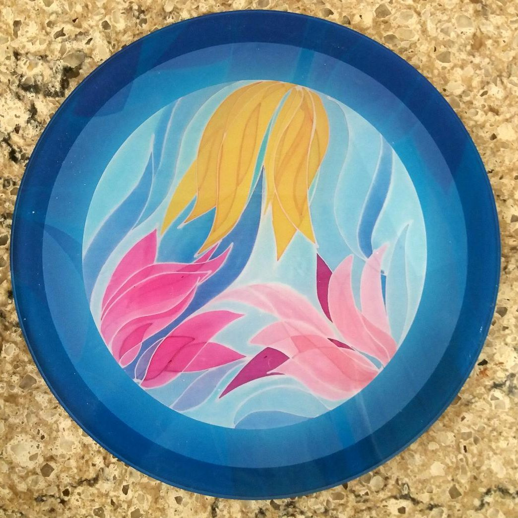 Flowers in blue circle -round